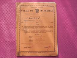 1935 CAHIER D´ECOLE ECOLIER VILLE DE MARSEILLE ELEVE : ROBERT=>NOTES-DEVOIRS & LECONS ECRITURE A LA PLUME ENCRE VIOLETTE - Diplomas Y Calificaciones Escolares