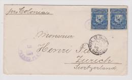Dominikanische Republik 1890-07-18 Puerto Plata Brief Nach Zürich Mit Transit Ankunft Und Zug Stempel - Dominicaine (République)