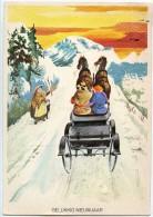 Gelukkig Nieuwjaar - Bonne Année - Une Dame Salue Un Attelage Sur Une Route De Montagne - écrite Timbre  Enlevé 2 Scans - Nouvel An