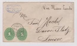 Mexico 1890-02-16 Guanajuato Brief Nach Davos Platz - Mexique