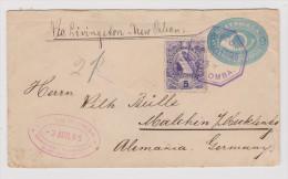 Guatemala 1895-08-03 Colomba Auf 5C. GS Brief Mit 5C. Zusatzfrankatur Nach Malchin D - Guatemala