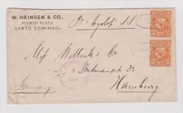 Dominikanische Republik 1889-01-08 Puerto Plata 2x10C Mit Franco In Violett Entwertet Brief Nach Hamburg - Dominicaine (République)