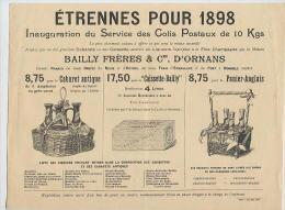 ETRENNES Pour 1898: Inauguration Du Service Colis Postaux De 10 Kg - Bailly Frères & Cie D'Ornans : Absinthe, Liqueurs - Publicités