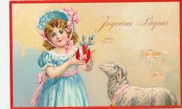 """ENFANTS - Jolie Carte Fantaisie Gaufrée Fillette Et Mouton De """"Joyeuses Pâques"""" (embossed Postcard) - Pâques"""