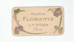 L T PIVER PARIS CARTE PARFUMEE CALENDRIER  ANCIENNE 1908 (FLORAMYE) - Perfume Cards