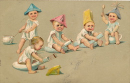ENFANTS - BÉBÉS - Jolie Carte Fantaisie Gaufrée Bébés Sur Le Pot De Chambre (embossed Postcard) - Babies