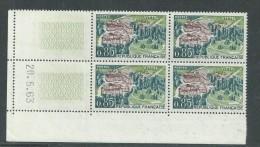 France N° 1393 XX : Sites : Vittel En Bloc De 4 Coin Daté Du 20 . 5 . 63 : Sans Trait,  Sans Charnière TB - 1960-1969
