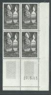France N° 1394 XX : Sites : Abbaye De Moissac En Bloc De 4 Coin Daté Du 27 . 5 . 63 : 2 Traits,  Sans Charnière TB - 1960-1969