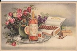 Cpa Ak Pk Illustrateur Non Signé Sur La Table Armagnac Vin Cigares Tabac Pipe  Editeur Colorprint 6637 / 5 - Tabac
