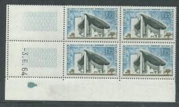 France N° 1394A XX : Sites : Notre Dame Ronchamp En Bloc De 4 Coin Daté Du 3 . 6 . 64 : Sans Trait,  Sans Charnière TB - 1960-1969