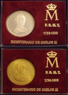ESPAÑA. BICENTENARIO DE CARLOS III. SET DE 2 MEDALLAS, PLATA Y COBRE. 1.988. ESPAGNE. SPAIN - Monarquía/ Nobleza