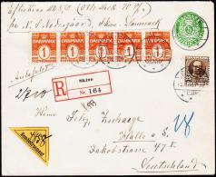 1907. King Frederik VIII. 25 Øre Grey-brown + 5 X 1 øre + 5 ØRE. SKIVE 15.11.08. Efterk... (Michel: 56) - JF181196 - Denmark