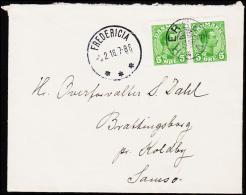 1918. HERSLEV + FREDERICIA 5.2.18. 2 X 5 øre Chr. X.  (Michel: ) - JF181224 - Non Classés