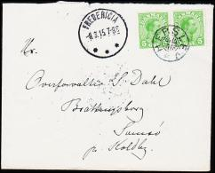 1915. HERSLEV + FREDERICIA 8.3.15. 2 X 5 øre Chr. X.  (Michel: ) - JF181223 - Non Classés