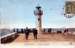 Cpa Chromo 1918 CHERBOURG, Le Phare De La Jetée Et Ses Promeneurs   (51.25) - Cherbourg