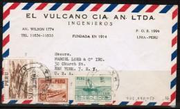 PERU  Scott # 440,458,465 On AIRMAIL ADVERTISING COVER Circa 1950 - Peru