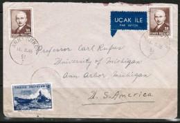 TURKEY  Scott # 939(2),941,RA50 On 1946 AIRMAIL COVER To USA (14/8/46) - 1921-... Republic