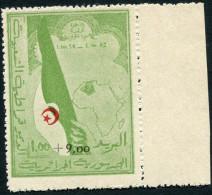 ALGERIE N°363A ** AVEC BORD DE FEUILLE +9F. S. 1F. VERT ET ROUGE SURTAXE AU PROFIT DES COMBATTANTS - Algérie (1962-...)