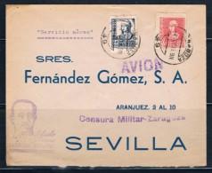 1938.- ZARAGOZA A SEVILLA - 1931-50 Cartas