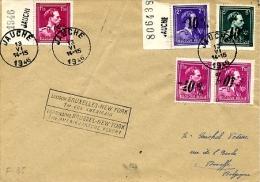 1er Vol Américain BXL-New York, Léopold III,  724N / 724P Sur Lettre De Jauche Vers  Haneffe - Belgien
