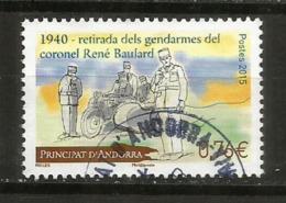 ANDORRE. Moto Side-car De La Gendarmerie En 1940, Un Timbre-poste Oblitéré,  1 ère Qualité, Cachet Rond - Gebraucht