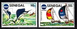Senegal MNH Scott #419-#420 Set Of 2 Sailfish Fishing, Racing Yachts - Oceanexpo 75 - Sénégal (1960-...)