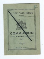 Livret - Lycée Faidherbe -  Lille  - Communion Solennelle - 1942 - Michel Lerat - Date De La Communion 7 Mai 1942 - Vieux Papiers