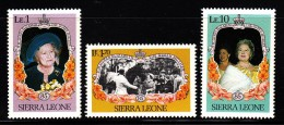 Sierra Leone MNH Scott #690-#692 Set Of 3 Queen Mother's 85th Birthday - Sierra Leone (1961-...)