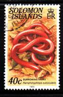 Solomon Islands Used Scott #408A 40c Burrowing Snake - Salomon (Iles 1978-...)