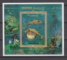 Manama 1972,1V In Block,fish,vissen,fische,poissons,peche,peces,pesce,MNH/Postfris(L1974) - Vissen