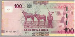 NAMIBIE NAMIBIA 2012   BILLET  BANKNOTE   100 $    Type Capitaine - CAPTAIN Witbooi    -----  TB - Namibie