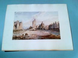 ARRAS La Petite Place - Gravure D´ Emile TATIN ( Lendemains De Guerre Des Flandres à La Meuse 1920 ) - Lithographies