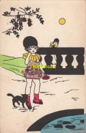 CPA COLLAGE DE TIMBRES FILLE CHAT  ** STAMP CUT ART CHILD GIRL CAT - Timbres (représentations)