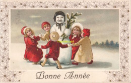 CPA  ENFANTS BONHOMME DE NEIGE BONNE ANNEE **  CHILDREN CARD NEW YEAR SNOW PUPPET - Anno Nuovo
