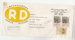 REGISTERED Air Mail ECUADOR Illus ADVERT COVER Stamps 2x 10.00 NATIVE INDIAN To GB Native American - Ecuador