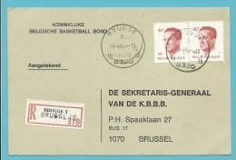 2136 Op Kaart Aangetekend Met Stempel BRUGGE 15, Nood-aantekenstrookje BRUGGE 3 Met Naamstempel BRUGGE 15 Er Op !!! - 1981-1990 Velghe