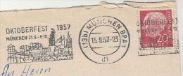 1957 COVER Slogan  OKTOBERFEST CARNIVAL FAIRE Illus Fairground Munchen Germany Stamps - Carnival