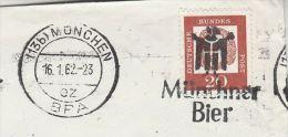 1962 Munchen GERMANY Stamps COVER  Illus SLOGAN Pmk BEER MUNCHNER BIER  Alcohol Drink - Beers