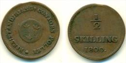 1800 Sweden Gustav IV Half Skilling Coin - Zweden