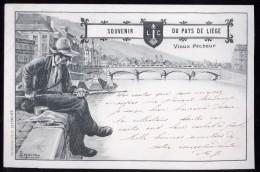 597 - BELGIQUE  - LIEGE - SOUVENIR DU PAYS DE LIEGE - Vieux Pécheur - Dos Non Divisé - Herstal