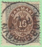 "DEN SC #30a   1875 Numeral  P14x13.5  TC (""KJOBENHAVN 8-27""), CV $17.00 - 1864-04 (Christian IX)"