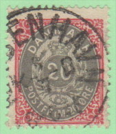 DEN SC #31a  1875 Numeral  Carmine And Gray P14x13.5, CV $32.50 - Used Stamps
