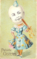 CPA Gaufrée (relief) Fröhliche Ostern Joyeuses Paques 1915, écrite Au Dos. Tête D´oeuf - Easter