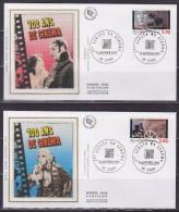 = Premier Siècle Du Cinéma 4 Enveloppes 1er Jour 69 Lyon 14.1.95 N°2919 2920 2921 2922 Projecteurs Bobines Têtes - 1990-1999