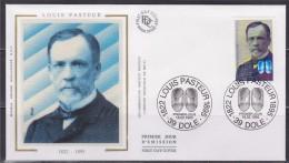 = Louis Pasteur Enveloppe 1er Jour 39 Dole 18.2.95 N°2925 Portrait De L'homme De Sciences Et Médecines - 1990-1999