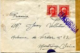 ESPAGNE 1938- Letttre Censurée Pour Gentilly France - Marcas De Censura Nacional