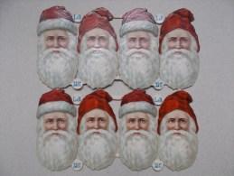 PLANCHE DE 8 PERE NOEL CHROMOS DECOUPIS GAUFFREE ANNEE 1900 - Motif 'Noel'