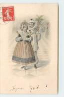 JOYEUX NOËL - Couple D'enfant, Pierrot. (carte Style Vienne) - Noël