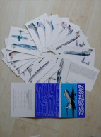 Post Cards In Folder From Russia Ussr 16 Cards Printed On 1989 Aeroflot Airplanes - 1946-....: Moderne