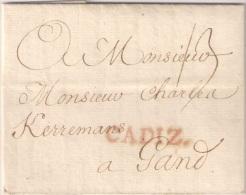 España 1782. Prefilatelia. Carta De Cadiz A Gante. - ...-1850 Vorphilatelie